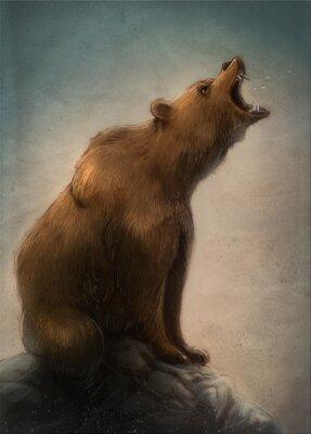 Sticker oso pardo salvaje