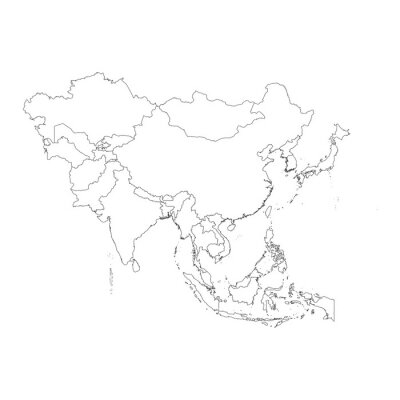 Sticker Outline on clean background of the continent of Asia