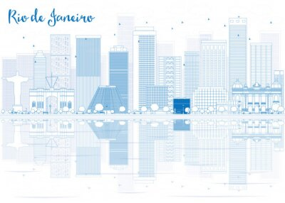 Sticker Outline Rio de Janeiro skyline with blue buildings.