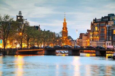 Sticker Overview of Amsterdam with Munttoren
