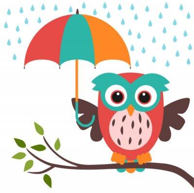 Sticker owl and umbrella rain