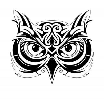 Sticker Owl head tattoo