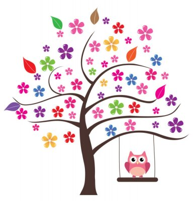 Sticker Owl In The Tree