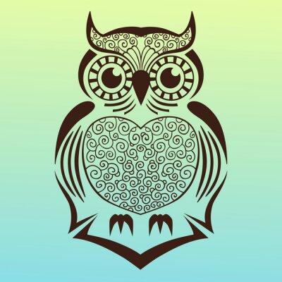 Sticker owl.vector illustration.