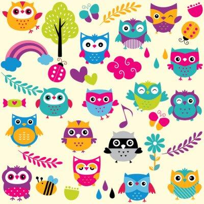 Sticker owls and elements clip art set