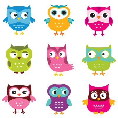 Sticker Owls set