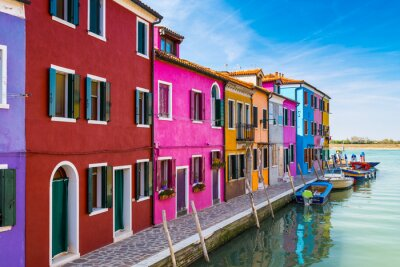 Sticker Painted houses of Burano, in the Venetian Lagoon, Italy.