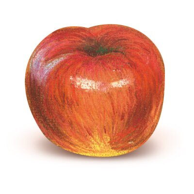 Sticker Painted red apple with clipping path