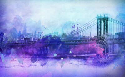 Sticker Painterly View of NYC Manhattan Bridge and River