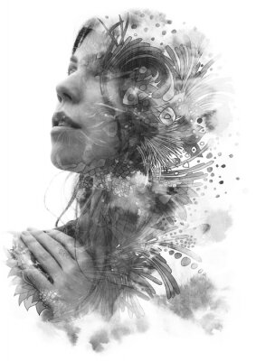Sticker Paintography. Double Exposure portrait of a young beautiful woman with hand on chest combined with hand drawn ink and pen drawing