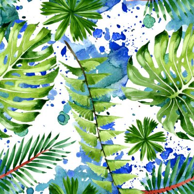 Sticker Palm beach tree leaves jungle botanical. Watercolor background illustration set. Seamless background pattern.