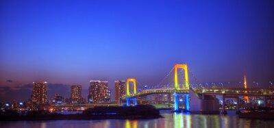 Sticker Panaroma Of Illuminated Tokyo