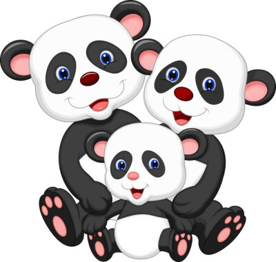 Sticker Panda bear family cartoon