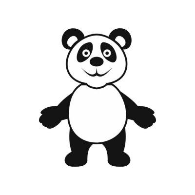 Sticker Panda bear icon, simple style