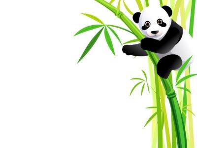 Sticker panda on bamboo