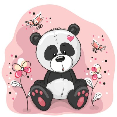 Sticker Panda with flowers