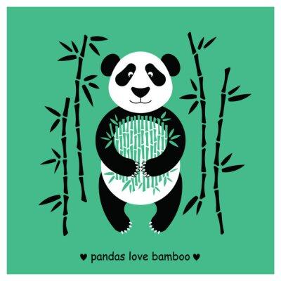 Sticker Pandas bear flat. Panda animal isolated.