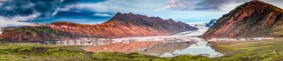 Sticker Panorama of beautiful glacier and lake at sunrise in Iceland