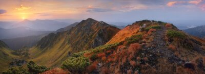 Sticker Panorama of mountains at dawn