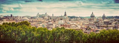Sticker Panorama of the ancient city of Rome, Italy. Vintage