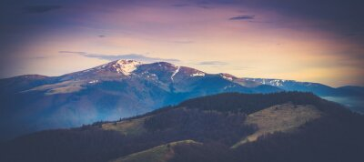Sticker Panoramic mountain landscape in spring.