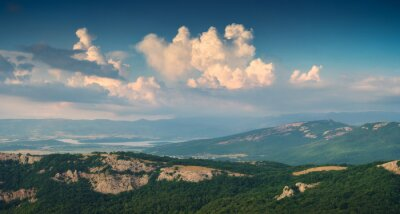 Sticker Panoramic view of Crimea mountain valley at sunset