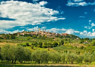 Sticker Panoramic view on San Gimignano with vineyards, one of the nicest villages of Italy