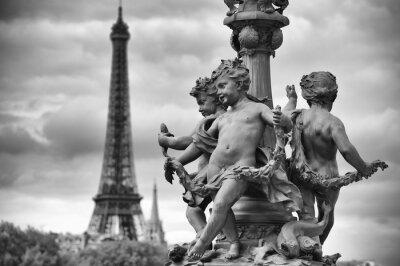 Sticker Paris France Eiffel Tower with Statues of Cherubs