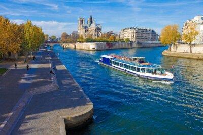 Sticker Paris, la seine et Notre-Dame vu du pont de la Tournelle