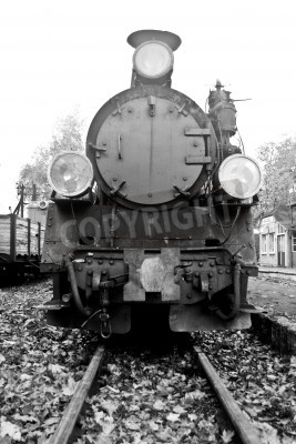 Sticker part of old steam train in black and white