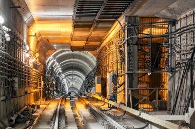 Sticker Passing down the underground subway tunnel