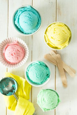 Sticker Pastel ice cream in white bowls, wood background, copy space
