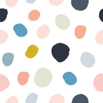 Sticker Pastel powder pink, navy blue, salmon, beige, grey watercolor hand painted polka dot seamless pattern on white background. Acrylic ink circles, confetti round texture. Abstract vector, greeting cards.