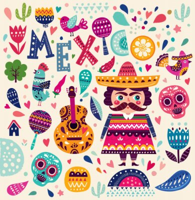 Sticker Pattern with symbols of Mexico