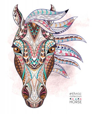 Sticker Patterned head of the horse on the grunge background. African / indian / totem / tattoo design. It may be used for design of a t-shirt, bag, postcard, a poster and so on.