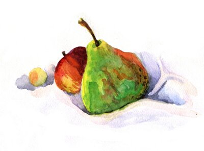 Sticker pear and apple, watercolor