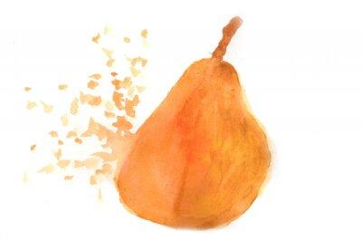 Sticker Pear in watercolor.