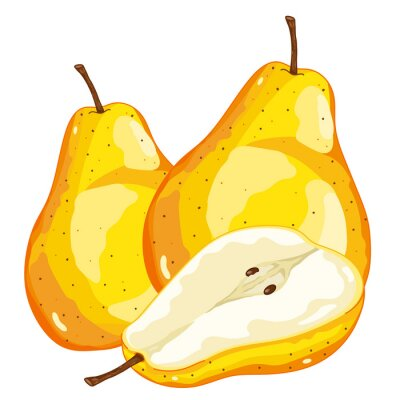 Sticker Pear Isolated on white background.