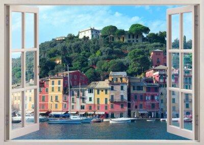 Sticker pen window view to old Portofino, Italy