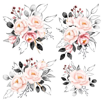 Sticker Peonies, watercolor pink and gray flowers set. Floral summer vintage collection isolated on white background. Hand drawing. Perfectly for wedding, birthday, party, other greetings design.