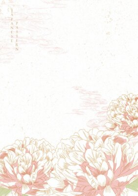 Sticker Peony flower background vector. Japanese wave template. Save the date invitation card.