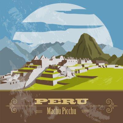 Sticker Peru  landmarks. Retro styled image.