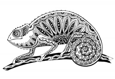 Sticker picture of black and white chameleon lizard in tattoo style