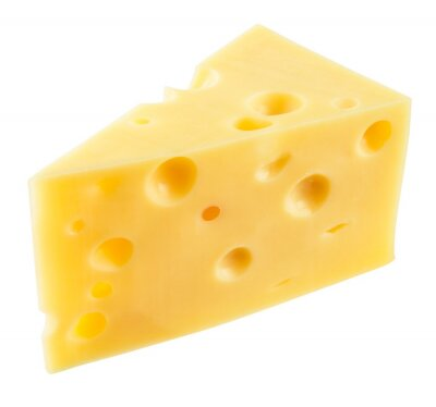 Sticker Piece of cheese isolated. With clipping path.