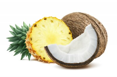 Sticker Pineapple coconut pieces composition 1 isolated on white backgro
