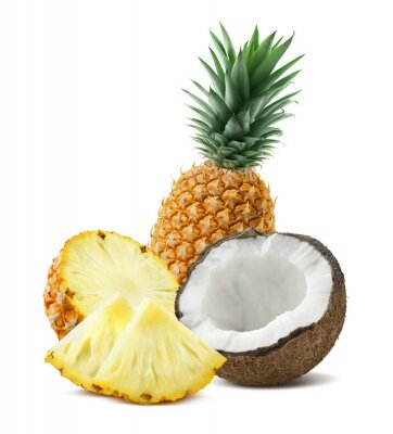Sticker Pineapple coconut pieces composition 4 isolated on white backgro