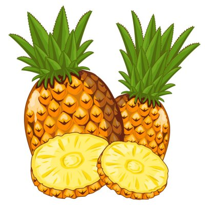 Sticker Pineapple Isolated on white background.