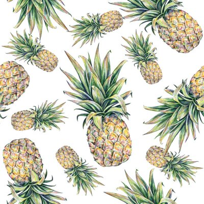Sticker Pineapple on a white background. Seamless pattern