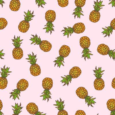 Sticker Pineapple seamless background.