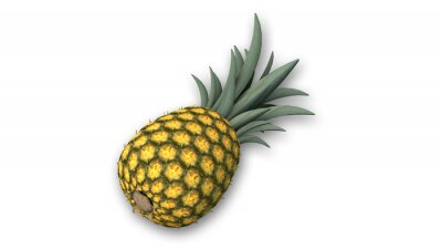 Sticker Pineapple, tropical fruit isolated on white background, close-up view